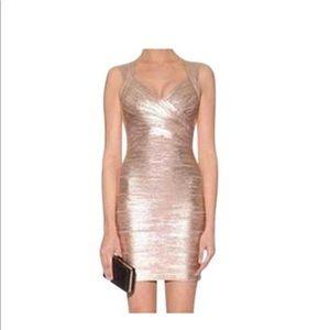 ✨Herve Leger Rose Gold Abrielle Bandage Dress
